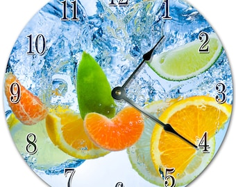 """10.5"""" CITRUS Dropped on Water Clock - Living Room Clock - Large 10.5"""" Wall Clock - Home Décor Clock - 4359"""