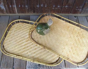 Rattan Serving Trays,Bamboo Tray,Vintage Wicker Tray,Rattan Tray,Woven Trays,Tiki Bar Serving Trays Herringbone Pattern