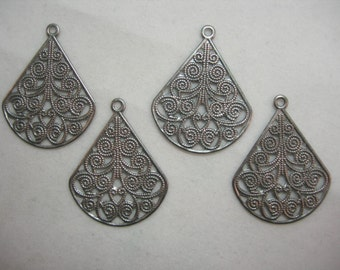 Silver Plated Victorian Filigree Earring Findings Drops Dangles - 4