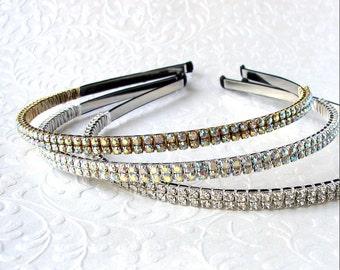 Thin Double Strand Rhinestone Headband Black Silver Gold Aurora Borealis Wedding Diadem Formal Hairpiece Pageant Headpiece Prom AB Crystal