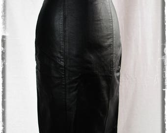 Vintage black leather pencil skirt XS