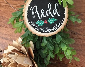 Personalized Wooden Slice Chalkboard Christmas Ornaments | Hand Lettered Custom Ornaments