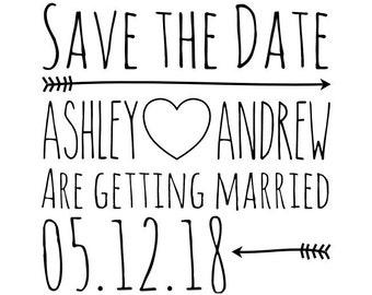 "Save the Date Stamp, custom names and date, getting married stamp, wedding announcement, 1.7""x1.7"" (cstd14)"
