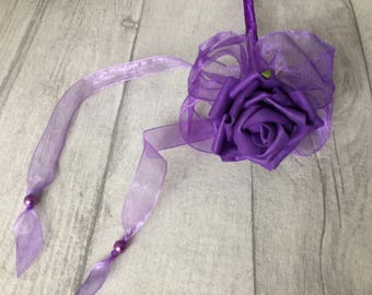 Purple Wedding Wand, purple rose wand,  flower girl's wand, purple wedding posy, rose wand, flower wedding wand, Wedding stick