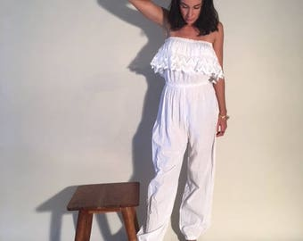 Beautiful Vintage White Strapless Jumpsuit with Eyelet Ruffle