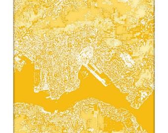 Hong Kong Cityscape Art Print / China Map Art Abstract Aerial Poster / 8x10 / Choose your Color