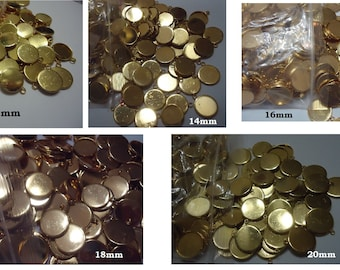 Clearance Scratched Gold Plated Pendant Bezel Trays 12MM 14MM 16MM 18MM 20MM Damaged In Shipment To Us See Photos
