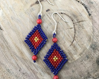 Blue, red and yellow diamond-shaped dangle earrings, bead woven with red beads and 925 sterling silver hooks
