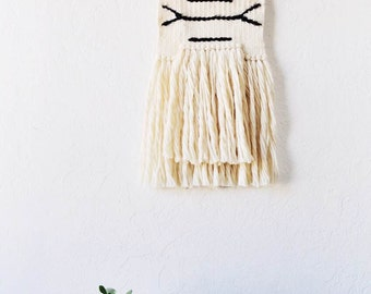 White Wall Weaving with Southwestern Accents | Woven Wall Hanging | Wall Weaving | Weaving Wall Hanging | Bohemian Decor