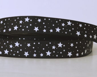 """Black with White Mini Stars Printed Grosgrain Ribbon 1"""" Scrapbooking HairBows Parties DIY Projects az474"""