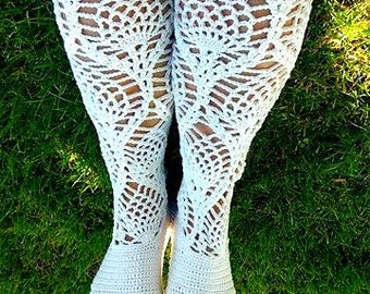 Lacy High Top Boots Fashion Crochet Leggings Leg Warmers Women's Boots Wedding Party Boots Costume Boots Wonderwoman Halloween Retro Chic