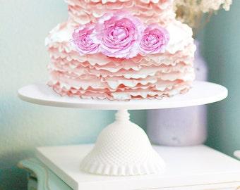 "Ruffle Cake Stand / 18"" Wedding Cake Pedestal Stand for Ruffle Wedding Cakes / Milk Glass Ruffles for Vintage Weddings"