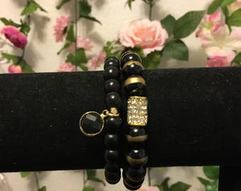 Black and gold large beaded beacelet set