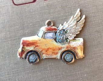 Vintage Truck Pendant with Wings, Yellow Daisy Flying Truck Pendant, Rusty Junk Truck Pendant, Gone Junkin Gypsy Truck, Dry Gulch, Daisy Mae