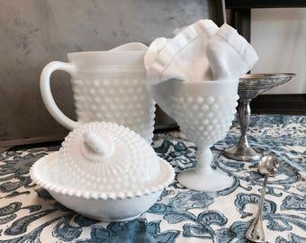 Hobnail milk glass goblet