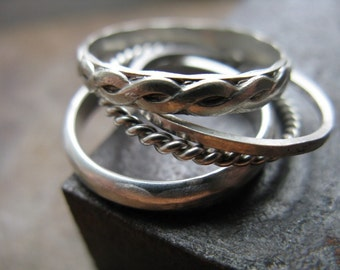 Stacking Rings in Sterling Silver