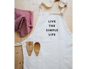 Aprons for Women, Women's Aprons, Apron, Live the Simple Life, Apron Woman, Full Apron, Gardening Apron, Kitchen Apron, Minimalist