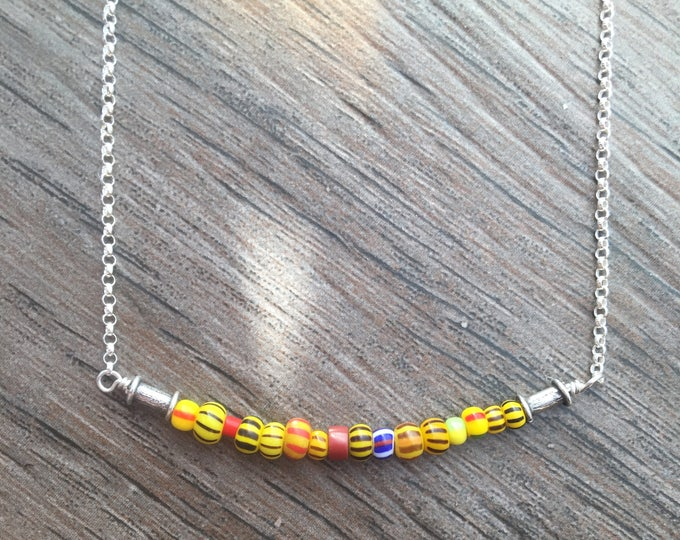 Antique Seed Bead Bar Necklace Gift Colorful Yellow Vintage