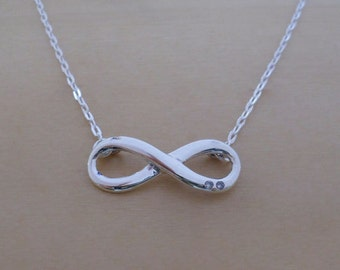 """925 Sterling Silver Infinity Pendant & Adjustable 16, 17"""" Chain Necklace"""