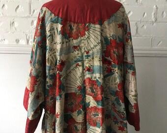 Vintage Antique Original Oriental Kimono Cotton Block Printed and Hand Painted