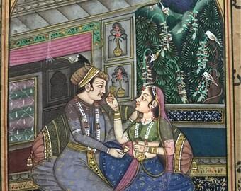 Scène d'amour moghol sur vieux papier ancien