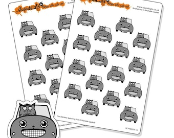 Car Planner Stickers for your journal, diary or calendar - 32 kiss-cut cat in a car stickers