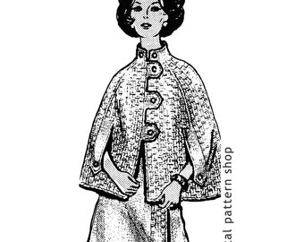Cape & Skirt Knitting Pattern Womens Knit Poncho Wrap Skirt Button Front Instant Download PDF -K39