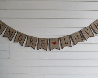 "Rustic Burlap ""SMORE LOVE"" Wedding Banner Shown with Brown Lettering and Outline"