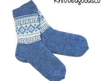 Hand made knitted socks, men, reinforced heel and toe, boucle thread, size 42-44 (9.5 - 11 US), wool, acrylic, Latvian ornament