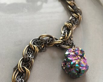 Crystal Necklace Druzy Peacock Ore Chunky Bronze Chain Necklace