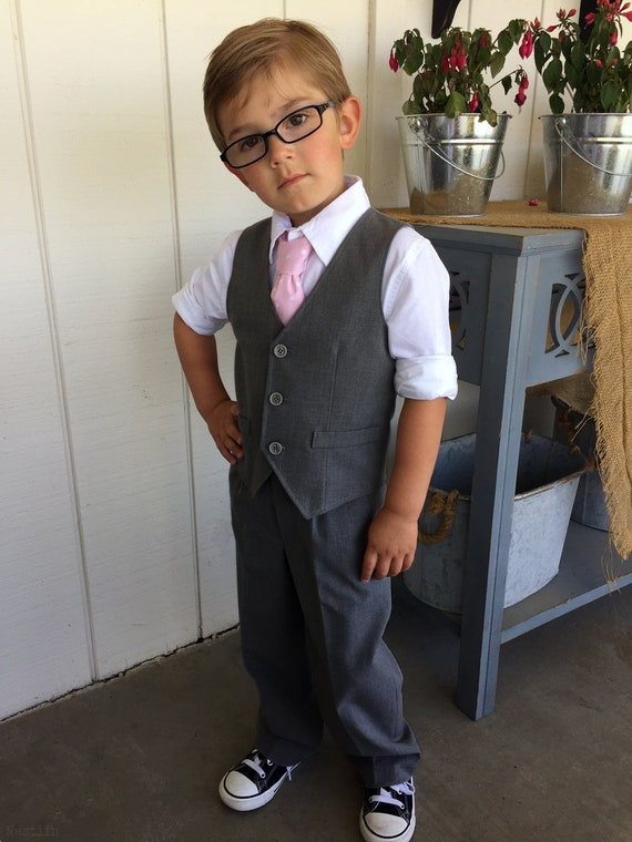 Toddler ring bearer outfit Grey wedding outfit boy Vest and