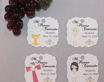 mi primera comunion/ favor tags/girls communion/boy communion/personalize tags/espanol