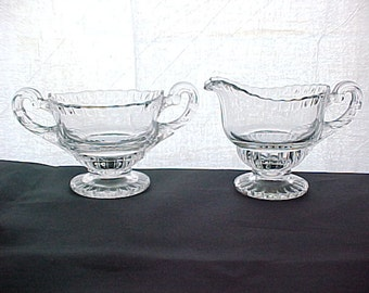 1930s Cambridge Gadroon Crystal Individual Cream & Sugar, Elegant Depression Glassware Serving Coffee, Mid Century Clear Collectible Glass