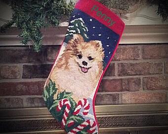 Pomeranian Dog stocking, Personalized Christmas stocking, dog stocking, Pomeranian, Needlepoint Christmas stockings,