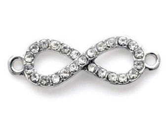Insert infinity rhinestone 33x10mm - silver plated (2 pieces)