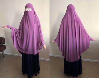 Lila Khimar, Transformator Hijab Niqab, elegante Jilbab, traditionelle Hijab, bereit zu tragen Hijab, Gebet Schal, lange Hijab Burka