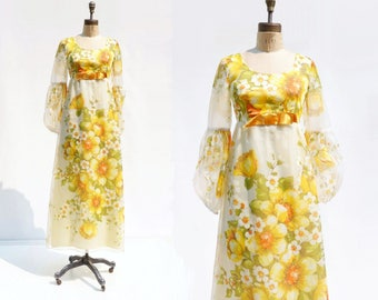 70s Maxi Dress Floral Maxi Dress Yellow Dress 1970s Maxi Dress Chiffon Maxi Dress s
