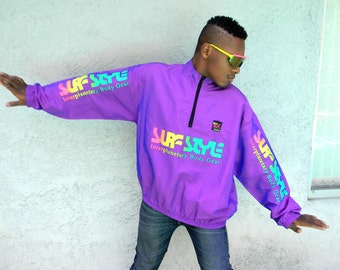 Vintage Windbreaker - 80s Surf Style Pullover Windbreaker Jacket - Iridescent Purple w Neon Rainbow Letters Unisex/Mens/Hip Hop - XL
