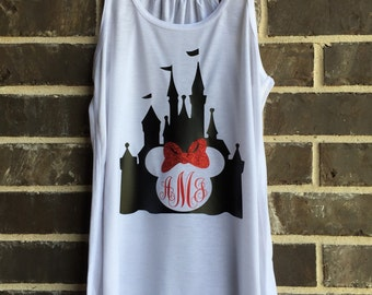 Free Shipping!! Monogram Castle Mouse Tank top/ Vacation Tank Tops / Trendy Tanks