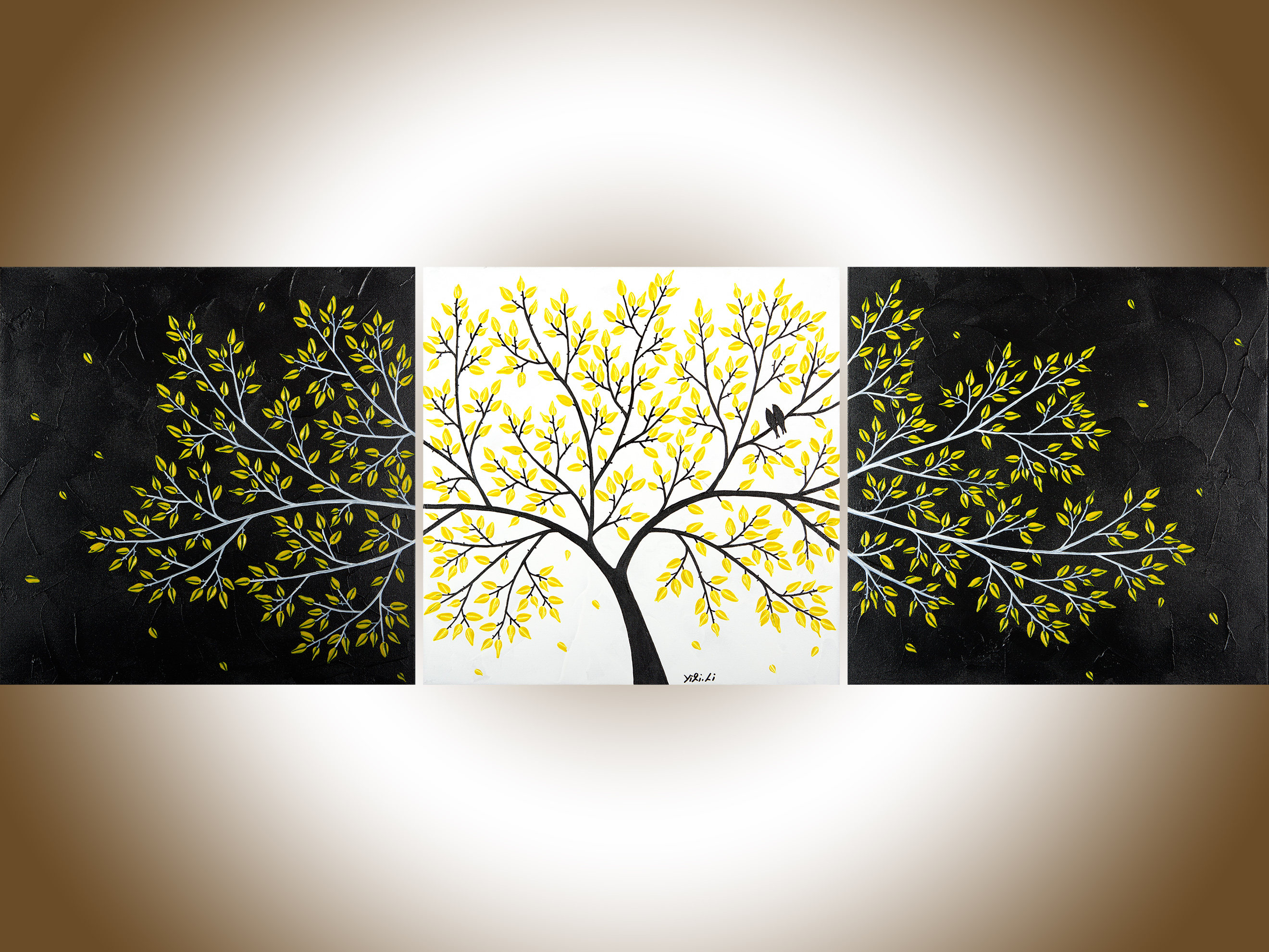 Black White yellow 60Abstract birds art original artwork