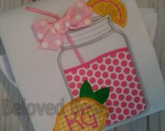 Pink Lemonade Mason Jar Applique Shirt, Summer Birthday Personalized Shirt, Summertime Mason Jar Shirt, Monogrammed Shirt