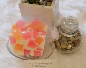 Kindness - Tangerine & pink luxury natural glycerin soap.