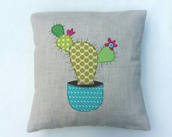 """Cactus cushion cover,  Prickly Pear, decorative, throw cushion. Appliquéd cotton on linen, 16""""/40cm. Free motion embroidery."""