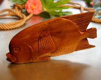 Mid Century Hand Carved Wooden Tropical Fish Sculpture, Tiki Bar Decor Hawaiian Luau Display Accessory, Vintage Tiki Lounge Polynesian Decor