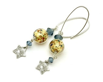 Gold Confetti Murano Glass Star Minimalist Dangle Earrings Blue   Crystal  Drop Textured for Her Under 110 Free US Shipping Mom Girlfriend