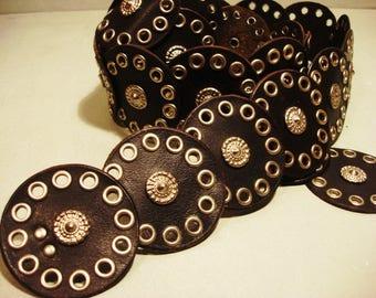 Vintage 1990s Boho Chic Leather Concho Belt