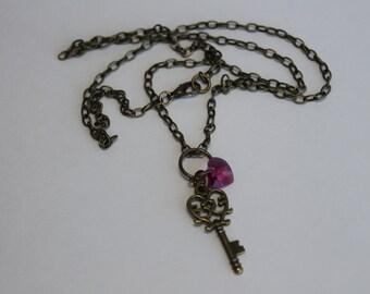 Key and Heart Necklace, Brass Key and Crysrtal Heart, Swarovski, Brass Necklace