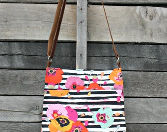 Crossbody Bag, Floral and stripe, Genuine Leather, Adjustable Strap, Everyday Purse