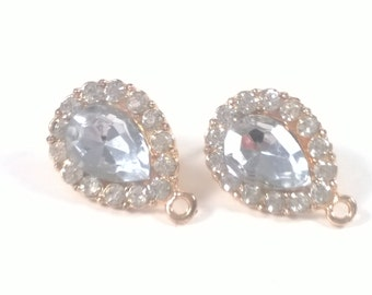 2 pcs / 1 pair Gold Clear 22 mm Faceted Glass Crystal Earring Posts - Teardrop Jewelry Supplies Findings