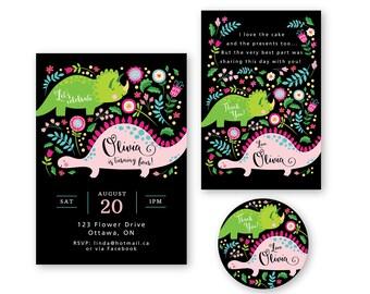 Girl's Dinosaur Invitation, Thank You & Favor Tags / Pink Dinosaur / Printable, Customized, DIY / Party Package / Cute Dinosaurs